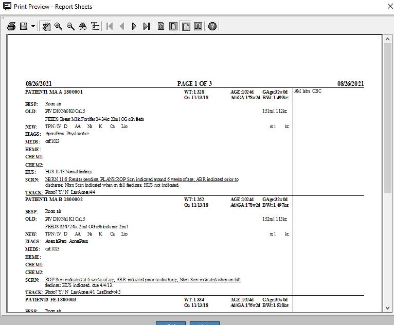 nd report sheet